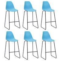 vidaXL Bar Chairs 6 pcs Blue Plastic