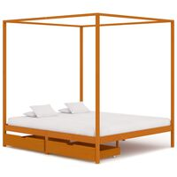 vidaXL Canopy Bed Frame with 2 Drawers Solid Pine Wood 160x200 cm