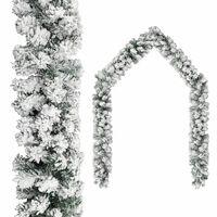 vidaXL Christmas Garland with Flocked Snow Green 10 m PVC