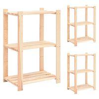 vidaXL 3-Tier Storage Racks 3 pcs 60x38x90 cm Solid Pinewood 150 kg