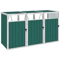 vidaXL Triple Garbage Bin Shed Green 213x81x121 cm Steel