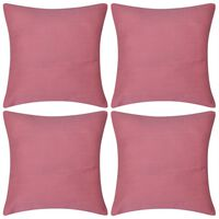 4 Pink Cushion Covers Cotton 80 x 80 cm