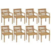 vidaXL Batavia Chairs 8 pcs Solid Teak Wood