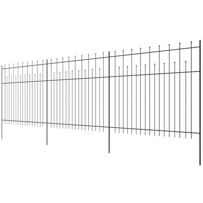 vidaXL Security Palisade Fence with Pointed Top Steel 600x200 cm Black