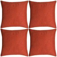 vidaXL Cushion Covers 4 pcs Linen-look Terracotta 80x80 cm