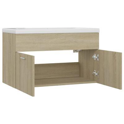 vidaXL Sink Cabinet with Built-in Basin Sonoma Oak Chipboard