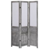 vidaXL 3-Panel Room Divider Grey 105x165 cm Fabric