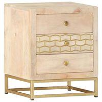 vidaXL Bedside Cabinet Gold 40x30x50 cm Solid Mango Wood