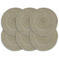 vidaXL Placemats 6 pcs Plain Grey 38 cm Round Jute