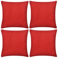 4 Red Cushion Covers Cotton 50 x 50 cm