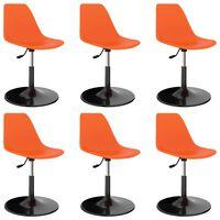 vidaXL Swivel Dining Chairs 6 pcs Orange PP