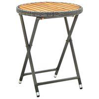 vidaXL Tea Table Grey 60 cm Poly Rattan and Solid Acacia Wood