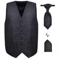 Men's Paisley Wedding Waistcoat Set Size 48 Black
