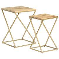 vidaXL Side Tables 2 pcs Solid Mango Wood and Steel