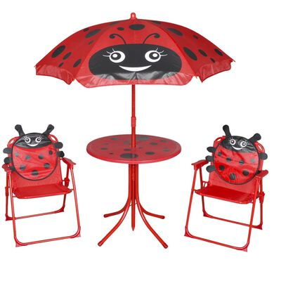 This garden furniture set with one table, two chairs and an umbrella is specifically designed for your kids to enjoy themselves in the garden or on the patio.