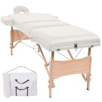 110152 vidaXL 3-Zone Folding Massage Table 10 cm Thick White