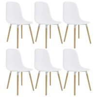 vidaXL Dining Chairs 6 pcs White Plastic
