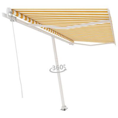 vidaXL Freestanding Manual Retractable Awning 400x350 cm Yellow/White