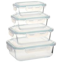vidaXL Glass Food Storage Containers 4 Pieces