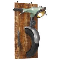 vidaXL Wall Lamp in Scooter Design Iron and Solid Mango Wood
