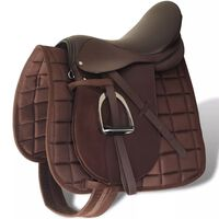 """Horse Riding Saddle Set 17.5"""" Real Leather Brown 18 cm"""