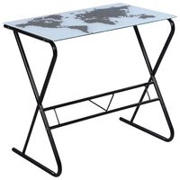 Glass Desk with World Map Pattern
