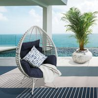 Peaktop OutdoorIndoor Wicker Lounge Teardrop/Egg Chair with cushion PT