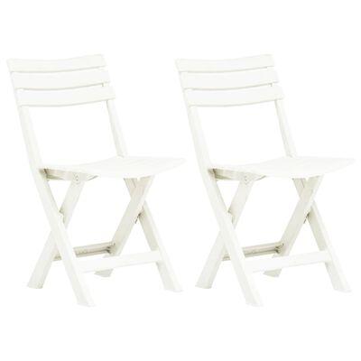 vidaXL Folding Garden Chairs 2 pcs Plastic White