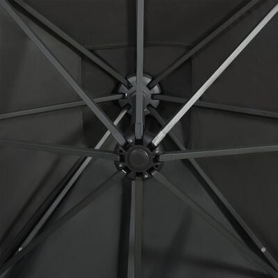 vidaXL Cantilever Umbrella with Pole and LED Lights Anthracite 300 cm
