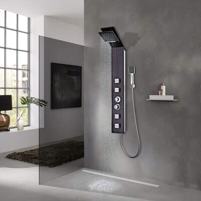 vidaXL Shower Panel System Glass Brown