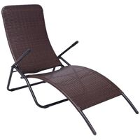 vidaXL Folding Sun Lounger Poly Rattan Brown