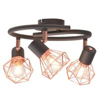 vidaXL Ceiling Lamp with 3 Spotlights E14 Black and Copper