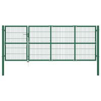 vidaXL Garden Fence Gate with Posts 350x120 cm Steel Green