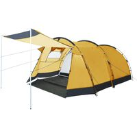vidaXL Tunnel Camping Tent 4 Person Yellow
