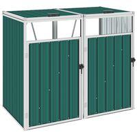 vidaXL Double Garbage Bin Shed Green 143x81x121 cm Steel