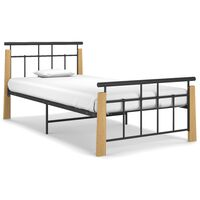 vidaXL Bed Frame Metal and Solid Oak Wood 100x200 cm