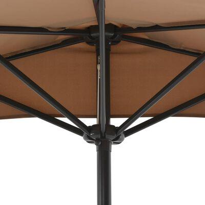 vidaXL Balcony Parasol with Aluminium Pole Taupe 270x135 cm Half