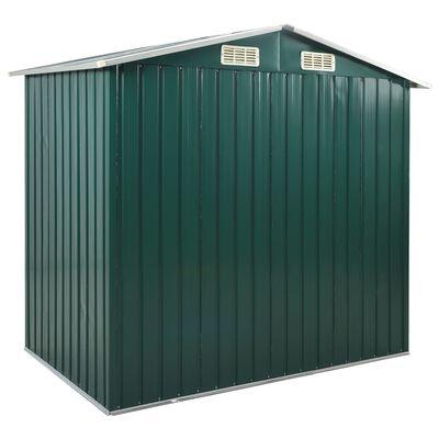 vidaXL Garden Shed with Rack Green 205x130x183 cm Iron