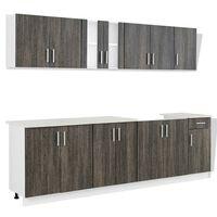 vidaXL Kitchen Cabinet with Sink Base Unit 8 Pieces Wenge Look
