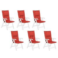 Set Of 6 Outdoor Seat/back Cushions Red Toscana/java