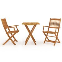 vidaXL 3 Piece Folding Garden Dining Set Solid Acacia Wood