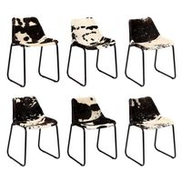 vidaXL Dining Chair 6 pcs Genuine Goat Leather