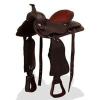 """vidaXL Western Saddle, Headstall&Breast Collar Real Leather 16"""" Brown"""