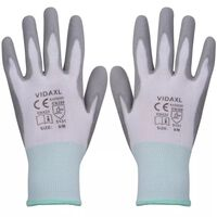 vidaXL Work Gloves PU 24 Pairs White and Grey Size 8/M