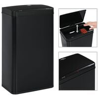 vidaXL Automatic Sensor Dustbin Black Steel 70 L