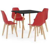 vidaXL 5 Piece Dining Set Red