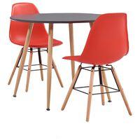 vidaXL 3 Piece Dining Set Plastic Red