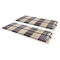 vidaXL Slatted Bed Bases 2 pcs with 42 Slats 7 Zones 70x200 cm