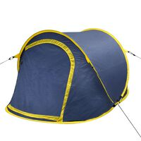 Pop-up Camping Tent 2 Persons Navy Blue / Yellow