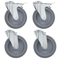vidaXL Bolt Hole Swivel Casters 4 pcs 125 mm